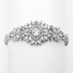 Silver/Rhodium Stunning Cushion Cut Center Crystal Couture Bracelet