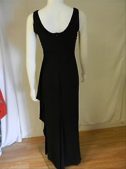 Black Maxi Dress by Other Armani Collezioni Asymmetrical V Neck With Ruched Side