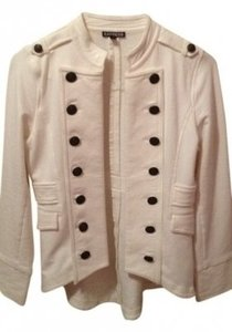 Express Cream Tail Off Military Style Jacket Jacket