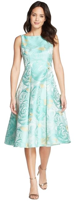 Preload https://item2.tradesy.com/images/adrianna-papell-seafoam-green-floral-jacquard-knee-length-cocktail-dress-size-16-xl-plus-0x-3284356-0-0.jpg?width=400&height=650