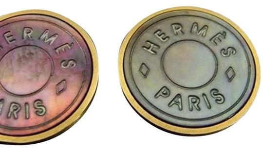 Hermès [ENT] Clip On Earrings Iridescent classic H Logo 164311 HTL31