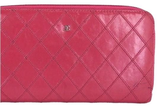 Chanel Chanel Quilted Pink Zip Around Continental Long Wallet