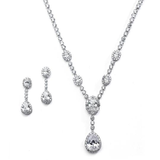 Silver/Rhodium Glamorous Luxe Crystal Necklace Earrings Jewelry Sets