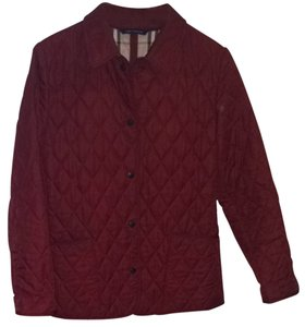 Burberry London Deep Red And Plaid Jacket