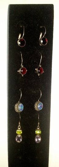 Other Lot of 4 Glass Jewel/Gem Drop Earrings, Red, Lavender, Peridot