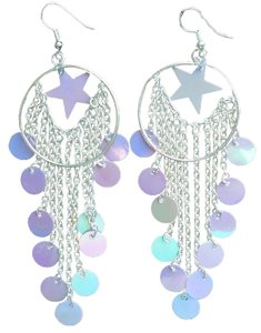 Star & Rhinestones Clip-on & Hoop Star Dangle