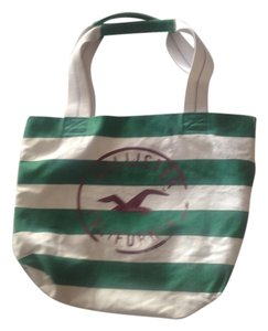 Hollister Tote in White and Green Stripes