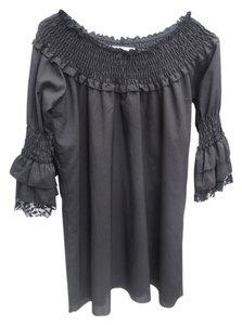 Modern Vintage Boutique short dress Black Lace Lace Trim Bell Sleeve Off The Sexy Cute Feminine Fun Sweet on Tradesy