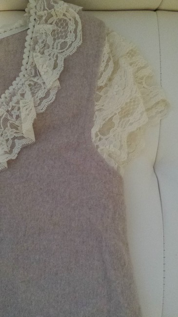 Anthropologie Top Lace and beige