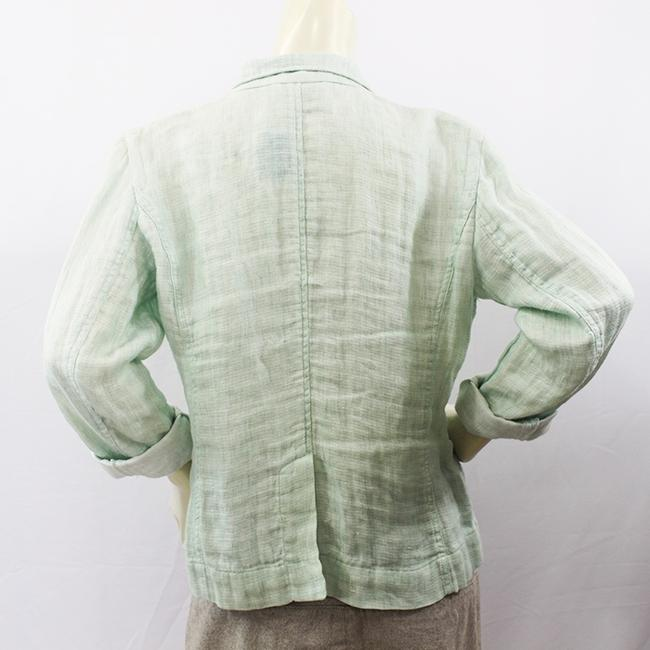 Eileen Fisher Light Green Linen Top Jacket Blazer