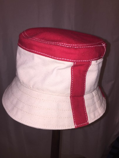 Stetson 834) NWT auth STETSON size SMALL natural canvas bucket hat w/red RETAIL $179