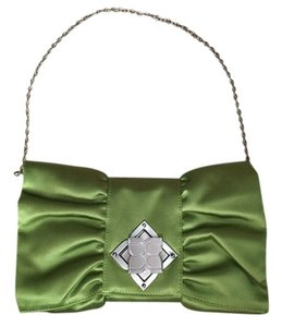 BCBGMAXAZRIA Going Out Satin Evening Green Clutch