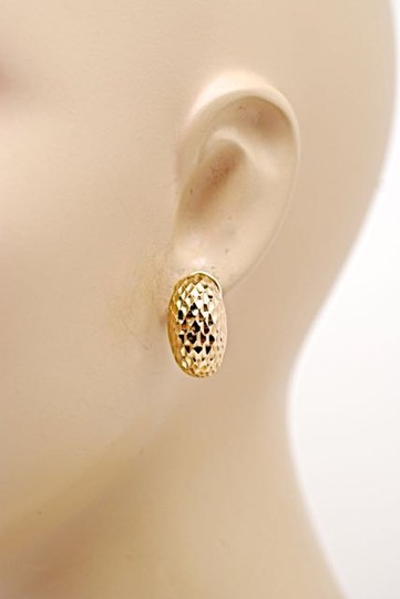 "Other Incredibly Light 18K Carved Pod Earrings w/Post + Clip - PRETTY - 1"" x 5/8"""