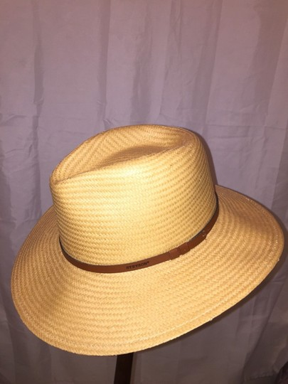 Stetson 823) NWT auth STETSON Limestone Straw HAT dsign sample SIZE M retail: $299