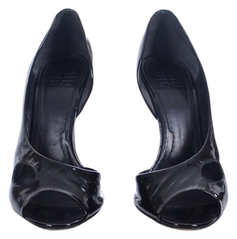 Givenchy Black Patent Leather Pumps Open Toe Heels Stilettos Pumps Leather f1a3f9