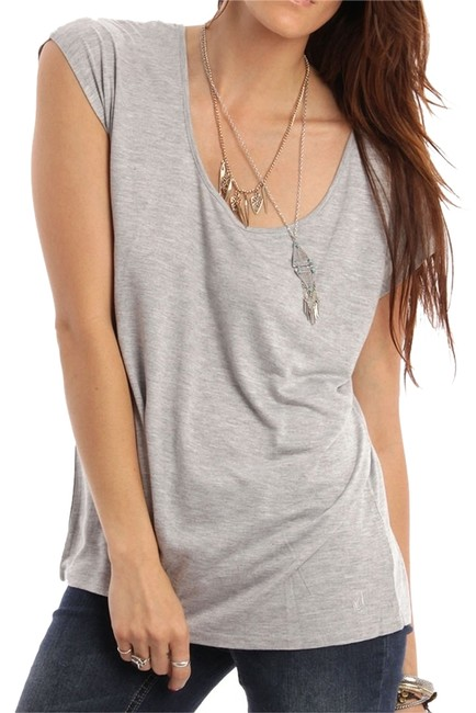Volcom Cut-out Casual T Shirt Grey