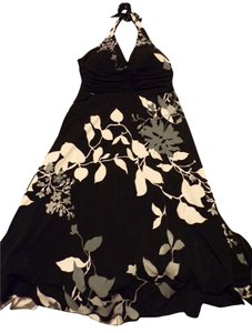 Speechless short dress Black with Grey & White Floral Halter on Tradesy