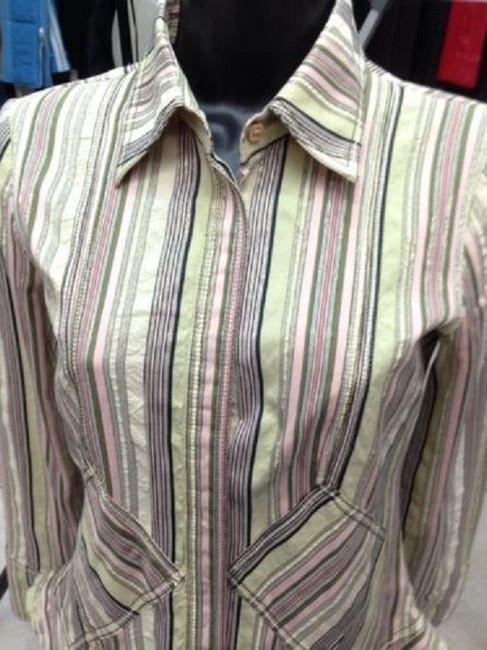 Other Multicolored Print Cotton Blouse 42 8 Button Down Shirt Image 1