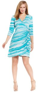 Calvin Klein Aqua Teal Watercolor Work Date Night Dress