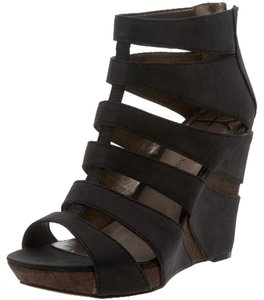 HK by Heidi Klum Wedge Leather Summer Black Wedges