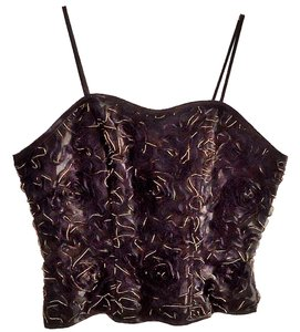 Pelicana Embroidered Corset Satin Top black-gold