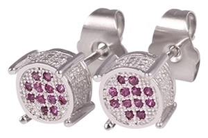 Other Micro Pave Revolution Circle Studs Pink Zircon