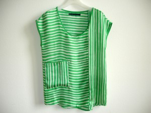 Zara Stripes Striped Stripe Boxy Loose Tunic Ivory Long Boxy Boxy Tunics Scoop Neck Striped Boxy Top green