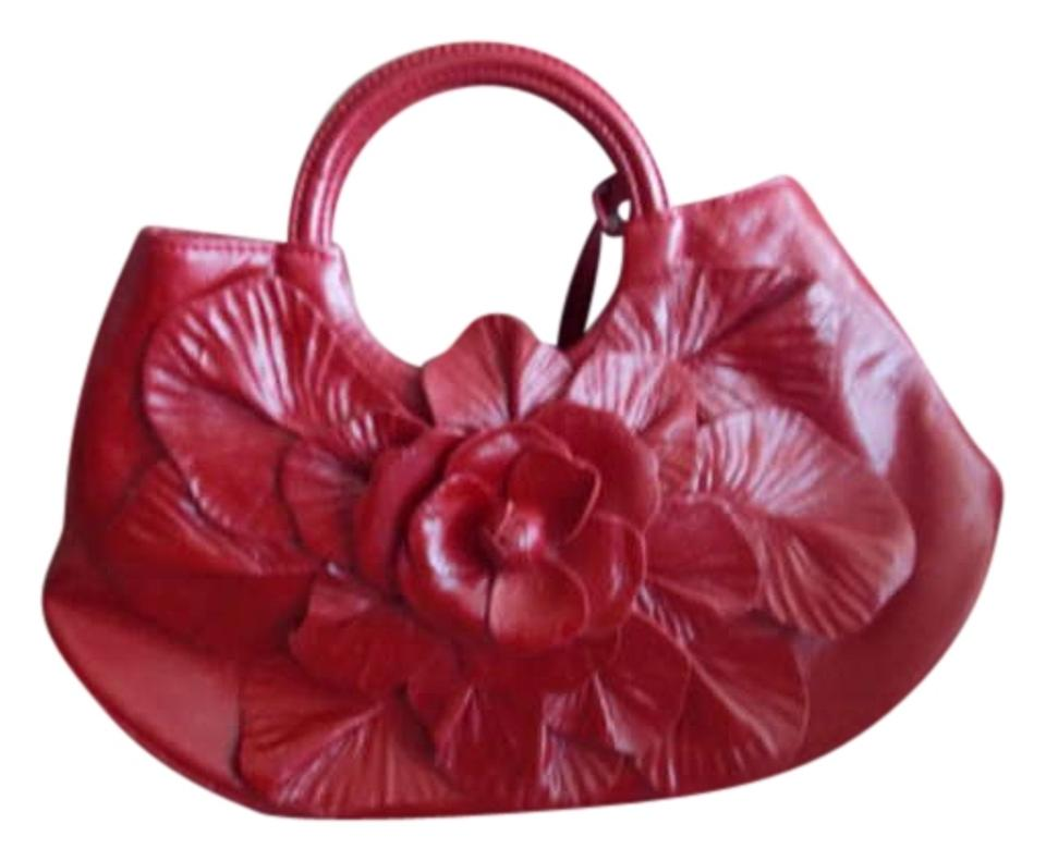 Anne Fontaine Italian Leather Textured Satchel In Red