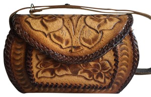Vintage Western Tooled Roses Satchel in Brown