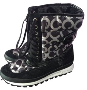 Coach Black And Silver Boots