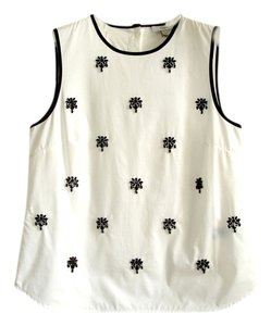 J.Crew Beaded Jewel Embellished Sleeveless Tank Black And Sparkle Crew Neck Embellished Jeweled Sparkly Tank Top white