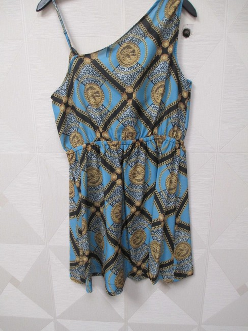 Kardashian Kollection short dress Blue Faux Wrap Chain Leopard on Tradesy