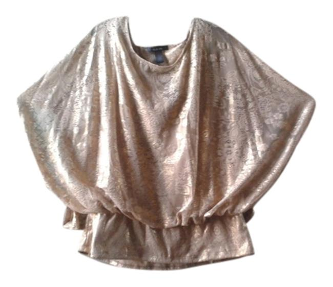 Style & Co Metallic Lace Overlay Top Gold