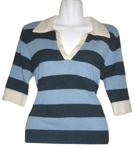 Autumn Cashmere Autumn White And Blue Nautical Sweater