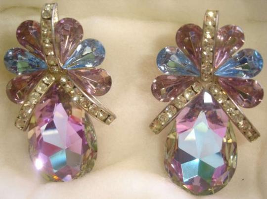 Handmade 90's Clip-On Purple and Blue Iridescent Rhinestone Earrings