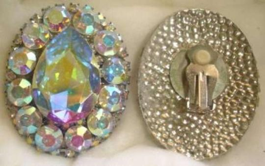 Handmade Vintage 90's Rhinestone Clip-On Earrings