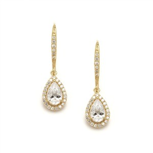 Mariell Pear Shaped Gold Cubic Zirconia Drop Wedding Or Bridal Earrings 4096e