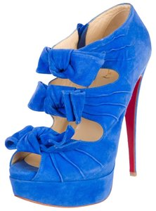 Christian Louboutin Suede Leather Peep Toe Bor Cut-out Platform Madame Butterfly Stiletto Pump Blue Boots