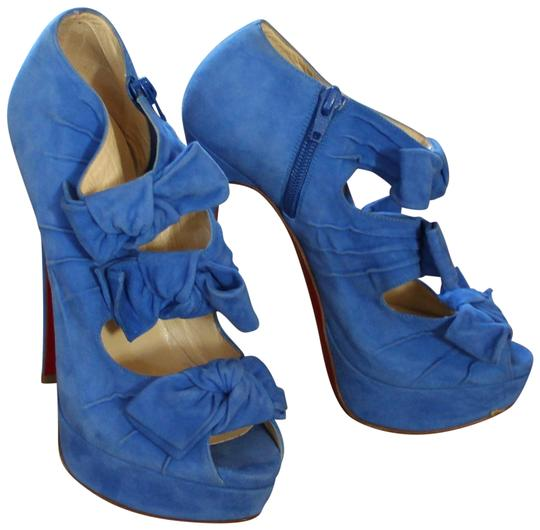 Christian Louboutin Suede Bow Platform Madame Butterfly Peep Toe Blue Boots