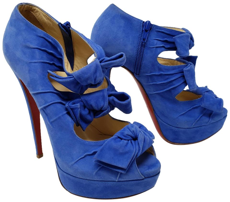 981d5baf48b0 Christian Louboutin Blue Suede Madame Butterfly Bow Cutout Boots Booties