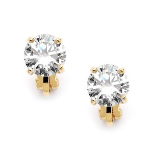 Mariell Gold Clip-on with 2 Carat 8mm Cz Solitaire 2002ec-g Earrings