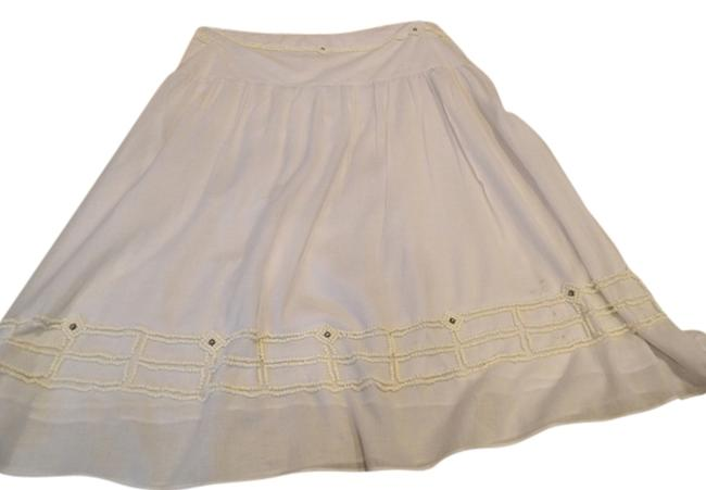 Tory Burch Size 10 Skirt white cotton with beads