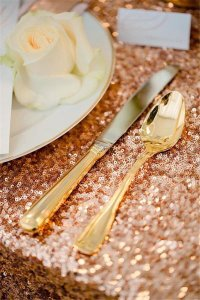 Unique Rose Gold Rectangular Sequin Tablecloths