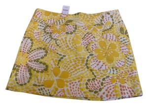 J.Crew J Crew Size 10 Skirt bright yellow greens whites linen