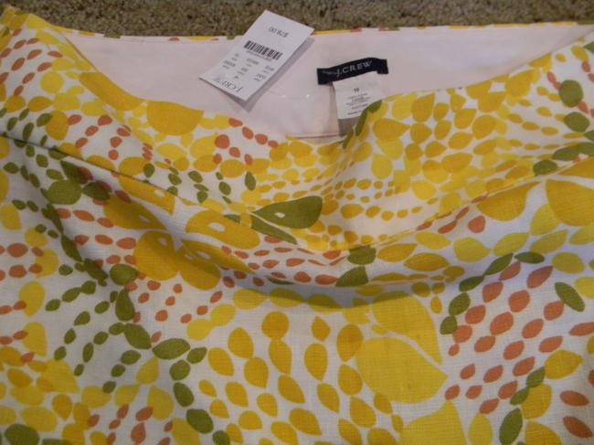 J.Crew Size 10 Size 10 Skirt bright yellow greens whites linen Image 1