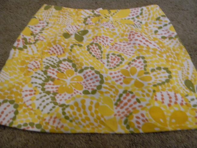 J.Crew Size 10 Size 10 Skirt bright yellow greens whites linen