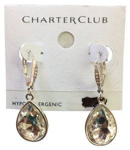 Charter Club Charter Club Silver-Tone Crystal Oval Drop Earrings