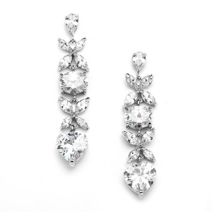 Mariell Gorgeous Cubic Zirconia Multi Shape Dangle Wedding Or Bridesmaids Earrings 4147e