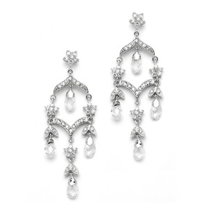 Mariell Delicate Bridal Chandelier Earrings In Brilliant Cz & Crystal 4178e