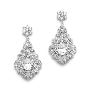 Mariell Silver Vintage Cubic Zirconia with Bold Cz Oval 4179e Earrings